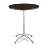 ICE65664 CaféWorks Table, 36 dia x 42h, Walnut/Silver ICE 65664