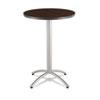 ICE65654 CaféWorks Table, 30 dia x 42h, Walnut/Silver ICE 65654