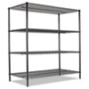 ALESW206024GN All-Purpose Wire Shelving Starter Kit, 4 Shelves, 60w x 24d x 72h, Green ALE SW206024GN
