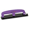 ACI2105 12-Sheet Capacity Compact Three-Hole Punch, Rubber Base, Purple/Black ACI 2105