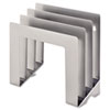 MMF2643S9450 Vertical Slant Organizer, 4-Compartment, 9 1/2 x 4 x 9 1/4, Silver MMF 2643S9450