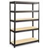 SAF6246BL Boltless Steel/Particleboard Shelving, 5 Shelves, 48w x 18d x 72h, Black SAF 6246BL