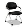 BSXVL303MM10X VL303 Mesh Back Nesting Arm Chair, Black/Silver BSX VL303MM10X