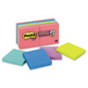 MMM65412SSUC Super Sticky Notes, 3 x 3, Five Jewel Pop Colors, 12 90-Sheet Pads/Pack MMM 65412SSUC
