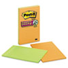 MMM5845SSAN Super Sticky Notes, 5 x 8, Lined, Assorted Electric Glow, 4 45-Sheet Pads/Pack MMM 5845SSAN