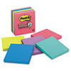 MMM6756SSUC Super Sticky Jewel Pop Notes, 4 x 4, Lined, Five Colors, 6 90-Sheet Pads/Pack MMM 6756SSUC