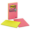 MMM5845SSUC Super Sticky Notes, 5x8, Lined, Assorted Jewel Pop Colors, 4 45-Sheet Pads/PK MMM 5845SSUC