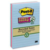 MMM6603SST Super Sticky Notes, 4 x 6, Lined, 3 Tropic Breeze Colors, 3 90-Sheet Pads/Pack MMM 6603SST
