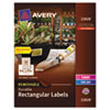 AVE22828 Removable Durable Labels, TrueBlock Technology, 1-1/4 x 1-3/4, Glossy WE, 256/Pk AVE 22828