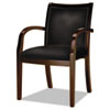 MLNVSC7ABMAH Mercado Series Ladder-Back Wood Guest Chair, Mahogany/Black Leather MLN VSC7ABMAH