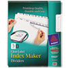 AVE11421 Index Maker White Dividers For Copiers, 5-Tab, Letter, Clear, 5 Sets/Pack AVE 11421