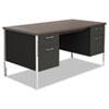 ALESD6030BW Double Pedestal Steel Desk, Metal Desk, 60w x 30d x 29-1/2h, Walnut/Black ALE SD6030BW