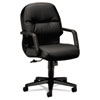 HON2092SR11T Leather 2090 Pillow-Soft Series Managerial Mid-Back Swivel/Tilt Chair, Black HON 2092SR11T