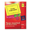 AVE5975 High-Visibility Laser Labels, 8-1/2 x 11, Assorted Neons, 15/Pack AVE 5975