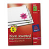 AVE5995 Burst Laser Labels, 2-1/4in dia, Assorted Neon Colors, 180/Pack AVE 5995