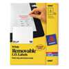 AVE6464 Removable Inkjet/Laser ID Labels, 3-1/3 x 4, White, 150/Pack AVE 6464