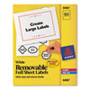 AVE6465 Removable Inkjet/Laser ID Labels, 8-1/2 x 11, White, 25/Pack AVE 6465
