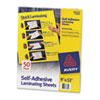 AVE73601 Clear Self-Adhesive Laminating Sheets, 3 mil, 9 x 12, 50/Box AVE 73601