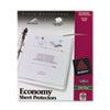 "Three-hole punched sheet protector stores 11"" x 8 1/2"" documents."