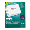 AVE8250 Inkjet Labels for Color Printing, 1 x 2-5/8, Matte White, 600/Pack AVE 8250