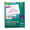 AVE8255 Inkjet Labels for Color Printing, 8-1/2 x 11, Matte White, 20/Pack AVE 8255