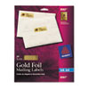 AVE8987 Foil Mailing Labels, 3/4 x 2-1/4, Gold, 300/Pack AVE 8987