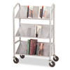 Buddy Products Three Sloped Shelf Book Cart