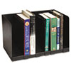 Steel six-section book rack with dividers.