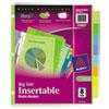 Big Tab™ durable plastic insertable dividers.