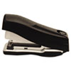 Flat clinch stapler requires less effort to operate.