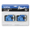 BRTTC34Z TC Tape Cartridges for P-Touch Labelers, 3/8w, White on Black, 2/Pack BRT TC34Z
