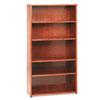 BSXBW2193HH BW Wood Veneer Series Five-Shelf Bookcase, 36w x 13d x 66h, Bourbon Cherry BSX BW2193HH