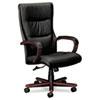 BSXVL844NSP11 VL844 Series High-Back Swivel/Tilt Chair, Black Leather/Mahogany BSX VL844NSP11