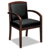 BSXVL853NSP11 Leather/Wood Guest Chair, Black Leather Upholstery with Mahogany Veneer Frame BSX VL853NSP11
