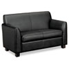 BSXVL872ST11 Tailored Leather Reception Two-Cushion Loveseat, 53-1/2w x 28-3/4d x 32h, Black BSX VL872ST11