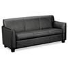 BSXVL873ST11 Tailored Leather Reception Three-Cushion Sofa, 73w x 28-3/4d x 32h, Black BSX VL873ST11