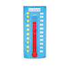 Thermometer/goal gauge pocket chart with clear vinyl pockets, 48 write-on/wipe-away cards (19 number cards, a Fahrenheit card, a Celsius card, four word cards and 23 blank cards).