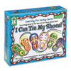 """I Can Tie My Shoes!"" lacing cards set includes six shoes and boots cards, six multicolored laces with safe plastic tips, each 36"", and directions in English and Spanish."