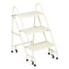 CRA113019 Steel Folding Three-Step Ladder w/Retracting Casters, Beige CRA 113019