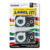CSOXR12WE2S Tape Cassettes for KL Label Makers, 12mm x 26ft, Black on White, 2/Pack CSO XR12WE2S