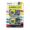 CSOXR18YW2S Tape Cassettes for KL Label Makers, 18mm x 26ft, Black on Yellow, 2/Pack CSO XR18YW2S