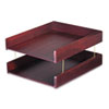 CVR02213 Hardwood Double Letter Desk Tray, Two Tier, Mahogany CVR 02213