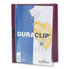 DBL220331 Vinyl DuraClip Report Cover w/Clip, Letter, Holds 30 Pages, Clear/Maroon DBL 220331