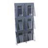 DEF56401 Multi-Pocket Wall-Mount Literature Systems, 18-1/4w x 2-7/8d x 35-1/4h,Clear/BK DEF 56401
