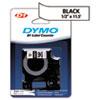 DYM16953 D1 Flexible Nylon Label Maker Tape, 1/2in x 12ft, Black on White DYM 16953