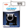 DYM16955 D1 Permanent High-Performance Polyester Label Tape, 1/2in x 18ft, Black on White DYM 16955