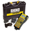 "Rhino 5200 industrial label maker kit with ""hot keys"" for professionally formatted labels, symbol library, backlit display, rubber bumper. Includes durable carrying case, one 3/4"" poly label cartridge, one 3/8"" white poly label cartridge, one lithium ion"