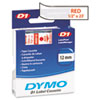 DYM45012 D1 Standard Tape Cartridge for Dymo Label Makers, 1/2in x 23ft, Red on Clear DYM 45012
