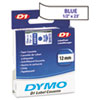 DYM45014 D1 Standard Tape Cartridge for Dymo Label Makers, 1/2in x 23ft, Blue on White DYM 45014