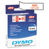 DYM45015 D1 Standard Tape Cartridge for Dymo Label Makers, 1/2in x 23ft, Red on White DYM 45015